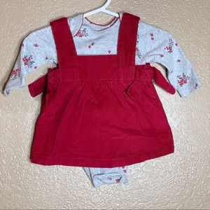 Carters newborn baby girl red overall dress